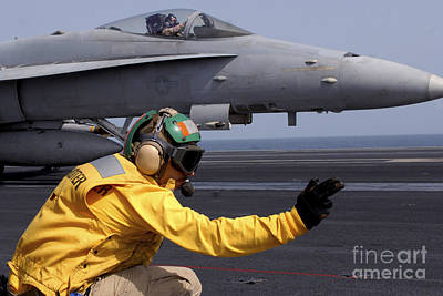 A Shooter Launches An Fa-18e Super Print by Stocktrek Images