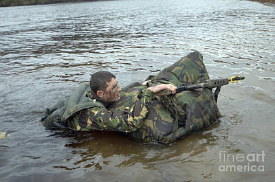 A Soldier Participates In A River Art Print by Andrew Chittock
