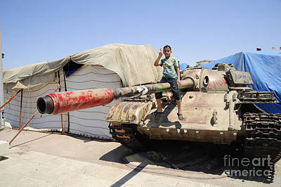 A T-55 Tank With Two Children Playing Art Print