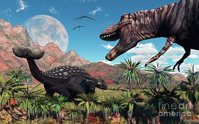 A T. Rex Confronts An Ankylosaurus Print by Mark Stevenson