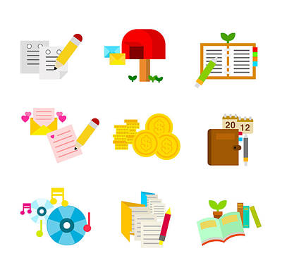 Library Digital Art - A Variety Of Writing Tools by Eastnine Inc.