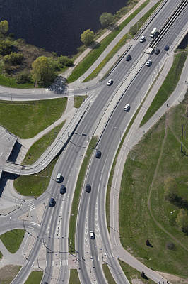 Traffic Congestion Photograph - A View From The Air Over A Major Dual by Jaak Nilson