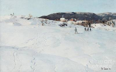 Ski Painting - A Winter's Day In Norway by Fritz Thaulow
