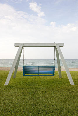 Mood Swings Photograph - A Wooden Beach Swing With A Green by Will and Deni McIntyre