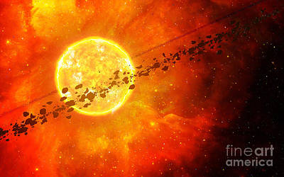 Circling Digital Art - A Young Star Circled By Debris by Frieso Hoevelkamp