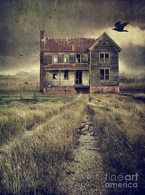 Abandoned Eerie Farmhouse With Dark Clouds Art Print by Sandra Cunningham