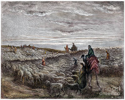 Drawing - Abraham Entering Canaan by Gustave Dore