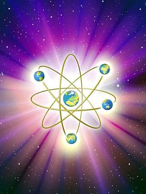 Abstract Artwork Of Earth Arranged As An Atom Art Print by Mehau Kulyk