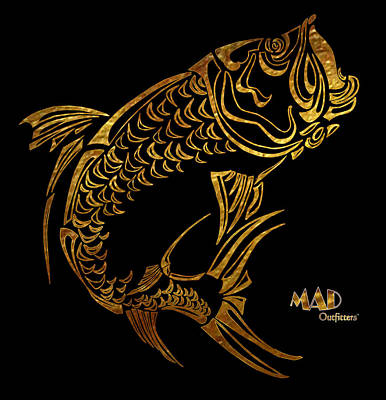 Abstract Tarpon Fishing Mad Outfitters Fish Design Art Print by MAD Outfitters