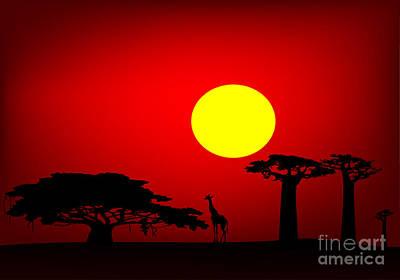 Baobab Digital Art - Africa Sunset by Michal Boubin