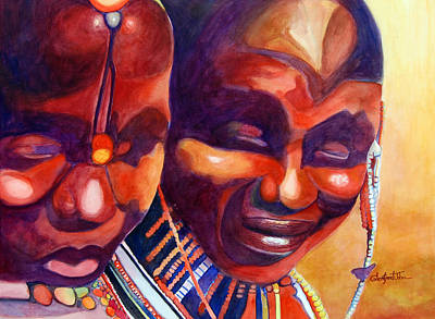 Painting - African Queens by Glenford John