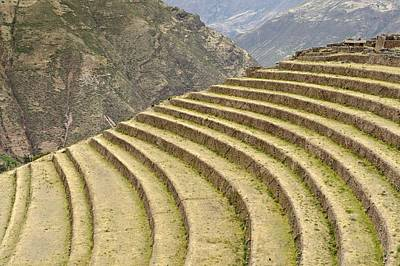 Terracing Photograph - Agricultural Terraces, Pisac, Peru by Matthew Oldfield
