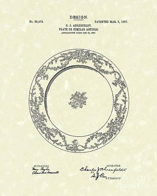 Hotel Art Drawing - Ahrenfeldt Plate Design 1907 Patent Art by Prior Art Design