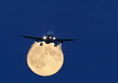 Passenger Plane Photograph - Airbus 330 Passing In Front Of The Moon by David Nunuk