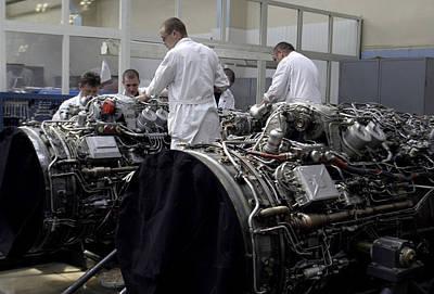 Sukhoi Photograph - Aircraft Engine Construction by Ria Novosti