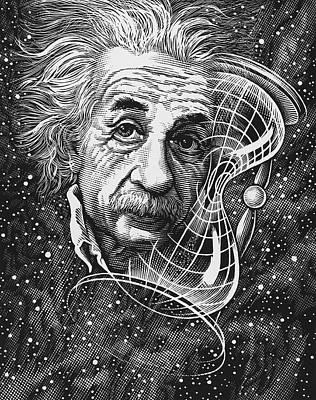Albert Einstein, German Physicist Print by Bill Sanderson