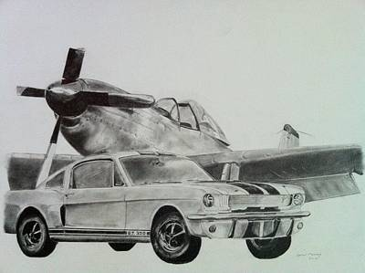 P51 Drawing - American Mustangs by Aaron Mayfield