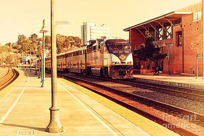 Amtrak Train At The Martinez California Train Station . 7d10495 Art Print by Wingsdomain Art and Photography