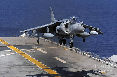 Av-8b Photograph - An Av-8b Harrier Jet Lands by Stocktrek Images