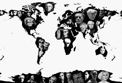 Andy Warhol World Map Art Print by Stephen Walker