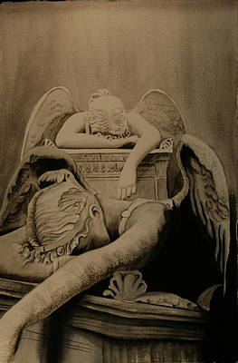 Art Print featuring the painting Angel Of Grief  by Teresa Beyer
