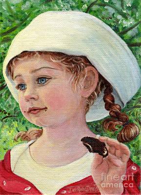 Annie In Dad's Sailor Hat Print by Dee Davis