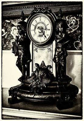 Food And Flowers Still Life - Antique Mantel Clock by Lynn Palmer