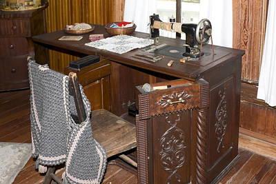 Machine Quilt Photograph - Antique Sewing Machine by Sally Weigand