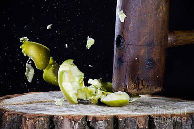 Apple Smashed With Mallet Art Print by Ted Kinsman