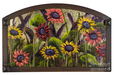 Painting - Arched Sunflowers With Gold Leaf By Vic Mastis by Vic  Mastis