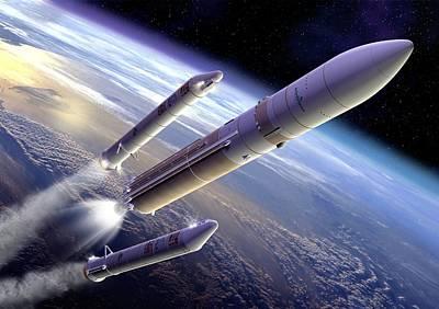 Ariane 5 Rocket Launch, Artwork Art Print by David Ducros