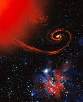 X-ray Binary Photograph - Artwork: Binary Star System Containing Black Hole by Julian Baum