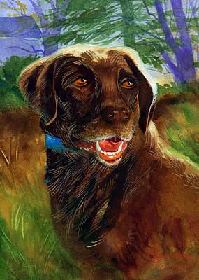 Chocolate Labrador Retriever Painting - Ashley by Lee Klingenberg