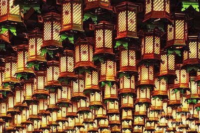Miyajima Photograph - Asian Lanterns Suspended From A Ceiling by Jeremy Woodhouse