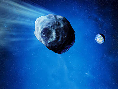 Asteroid Approaching Earth Art Print by Detlev Van Ravenswaay