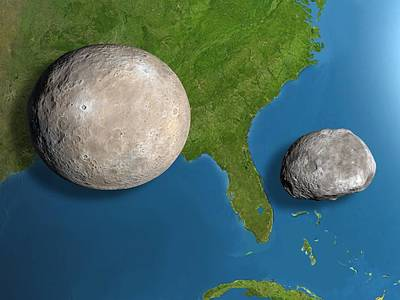 Asteroids Ceres And Vesta, Scale Artwork Print by Chris Butler