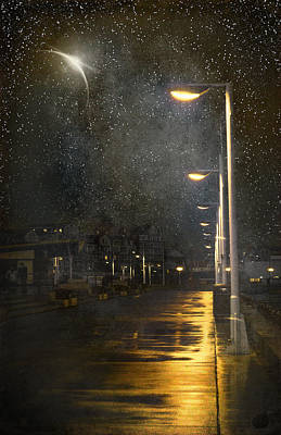 Old Street Mixed Media - at Night by Svetlana Sewell