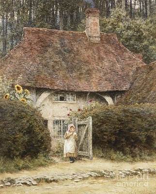 Building Exterior Painting - At The Cottage Gate by Helen Allingham