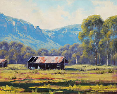 Impressionism Royalty-Free and Rights-Managed Images - AUSTRALIAN LANDSCAPE Lithgow  by Graham Gercken