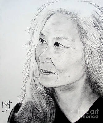 Maxine Hong Kingston Drawing - Author And Activist Maxine Hong Kingston by Jim Fitzpatrick