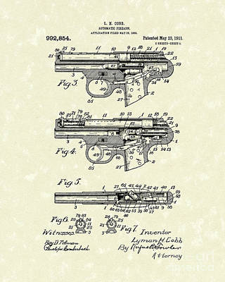 Automatic Firearm 1911 Patent Art Art Print