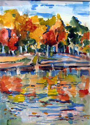 Autumn Landscape Drawing - Autumn Color by Mindy Newman