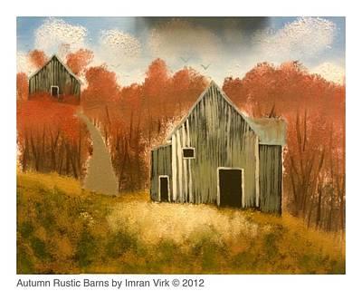 Autumn Rustic Barns Art Print by Imran Virk