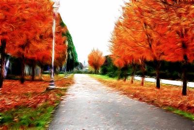 Pathway Digital Art - Autumn Walk  by Kami McKeon