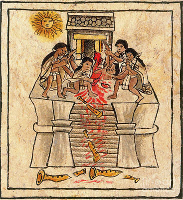 Human Sacrifice Photograph - Aztec Human Sacrifice Codex by Photo Researchers