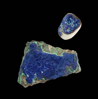 Azurite Crystals Art Print by Paul Biddle