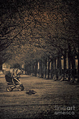 Photograph - Baby Carriage With Toy Bear Alone On Street by Sandra Cunningham