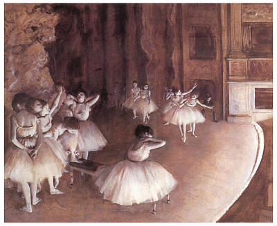 Ballet Rehearsal On The Stage Art Print by Edgar Degas