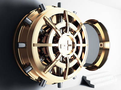 Treasure Box Photograph - Bank Vault Door 3d by Gualtiero Boffi