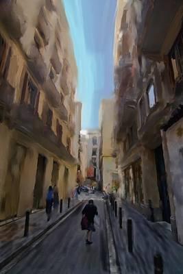 Barcelona Street Scene Art Print by Sven Brogren